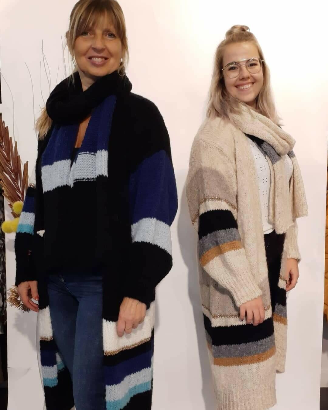 Lange vest met bijpassende sjaal