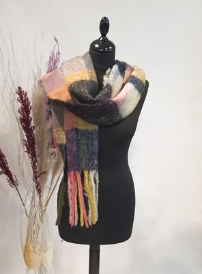 Sjaal Roze-blauw-oker