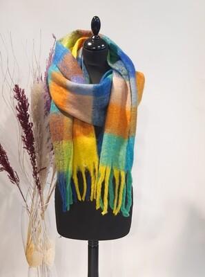 Sjaal Geel-blauw-oranje