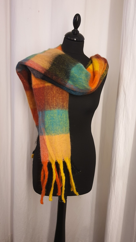 Sjaal Oker-Munt-oranje