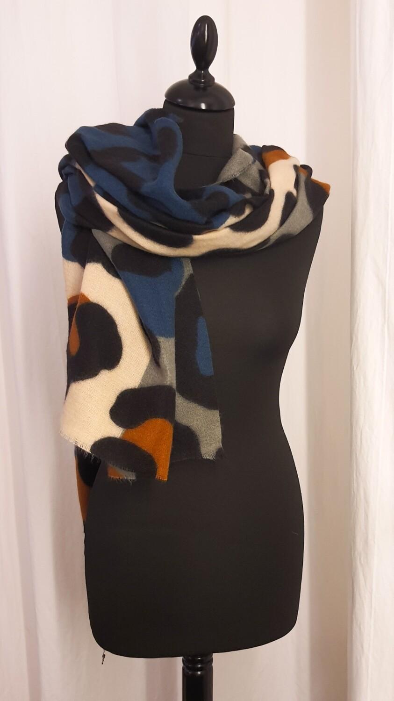 Sjaal panter blauw-oker