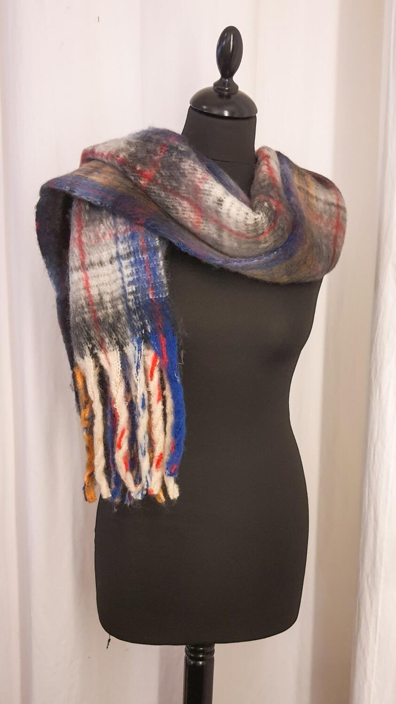 Sjaal geruit blauw-rood