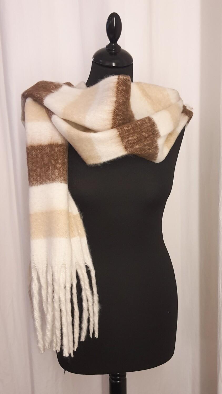 Sjaal wit-beige-bruin