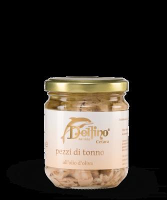Pezzi di Tonno all'olio d' oliva (stukjes tonijn in olijolie)