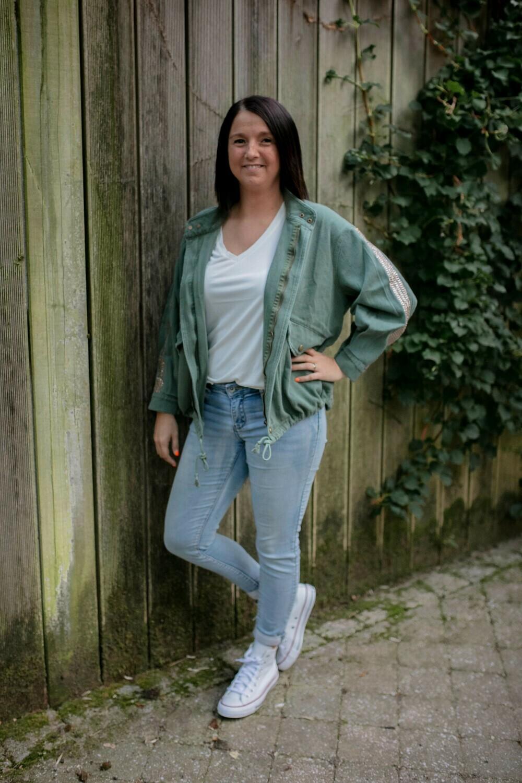 groen jeans jasje