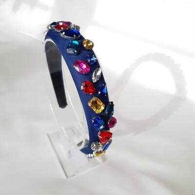 Diadeem D&G-stijl met veel kleurige kristallen