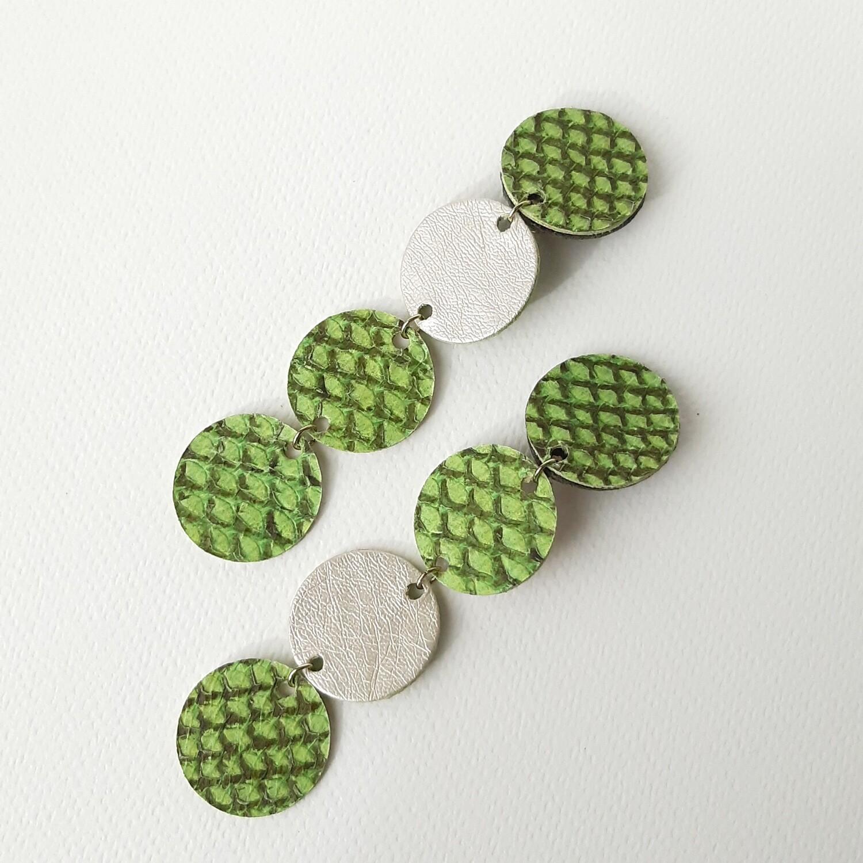 Oorbellen Oceanic - groen geschubd - asymmetrisch