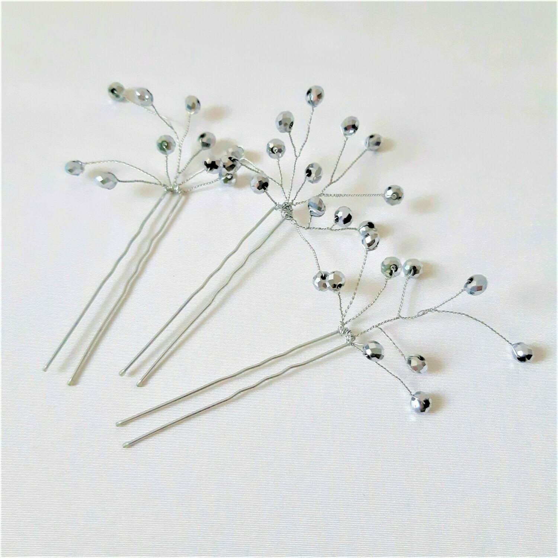 Haarpins - 3 moderne haarspelden met zilverkleurige parels