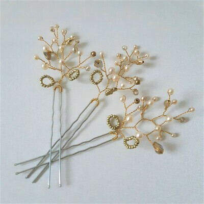 Haarpins - set van 3 pins met brons- en goud- kleurige parels