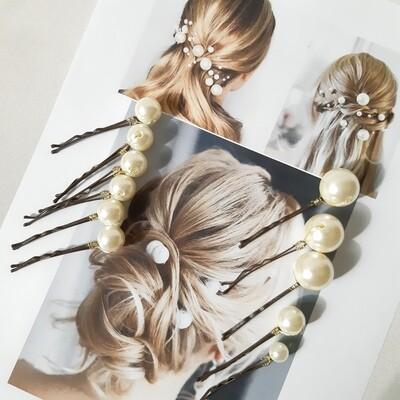 Haarpins - set van 11 haarspelden met grote en kleine parels