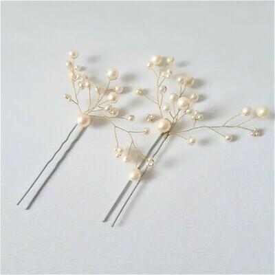 Haarpins - set van 2 pins met goud gecoate draad en parels