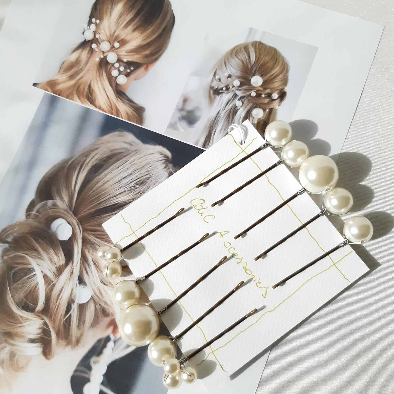 Haarpins - set van 10 haarspelden met grote en kleine parels