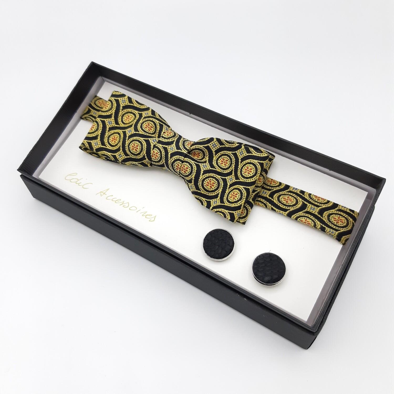 Vlinderdas, geel art deco motief op zwart met manchetknopen Oceanic