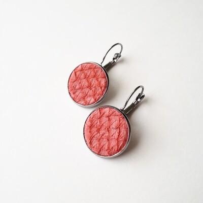 Oorbellen Oceanic roze rood in ronde cabuchon