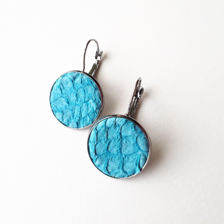 Oorbellen Oceanic turquoise in ronde cabuchon - Lengte: 3cm - diameter: 2cm