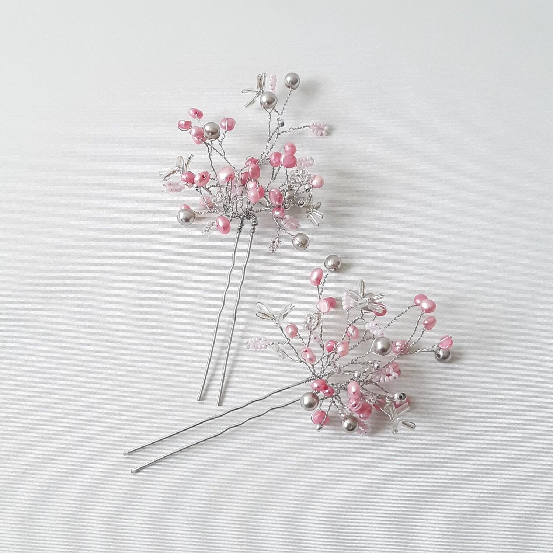 Haarpins - set van 2 pins met rose en zilver-kleurige parels
