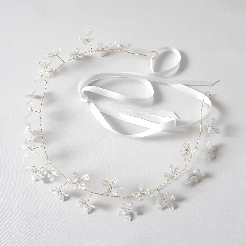 Bruidsaccessoire - kroon met kleine geparelde bloemetjes en gouddraad