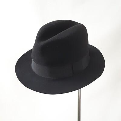 Winter hoed model Homburg in zwarte haarvilt