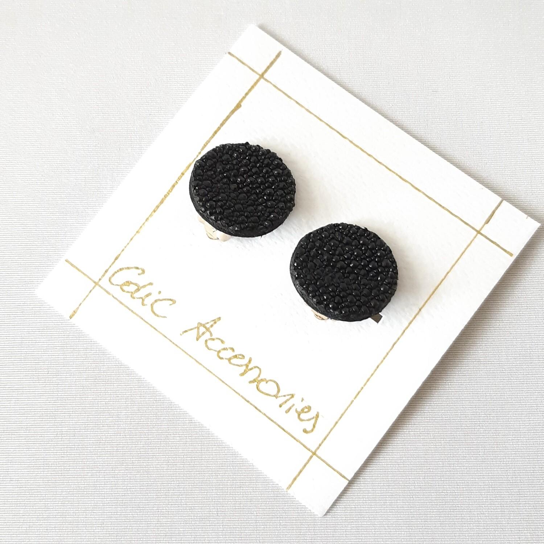 Oorbellen in rog - zwart - rond - clips