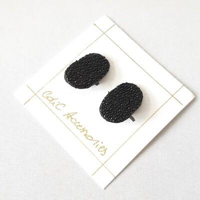 Oorbellen in rog - zwart - ovaal - clips