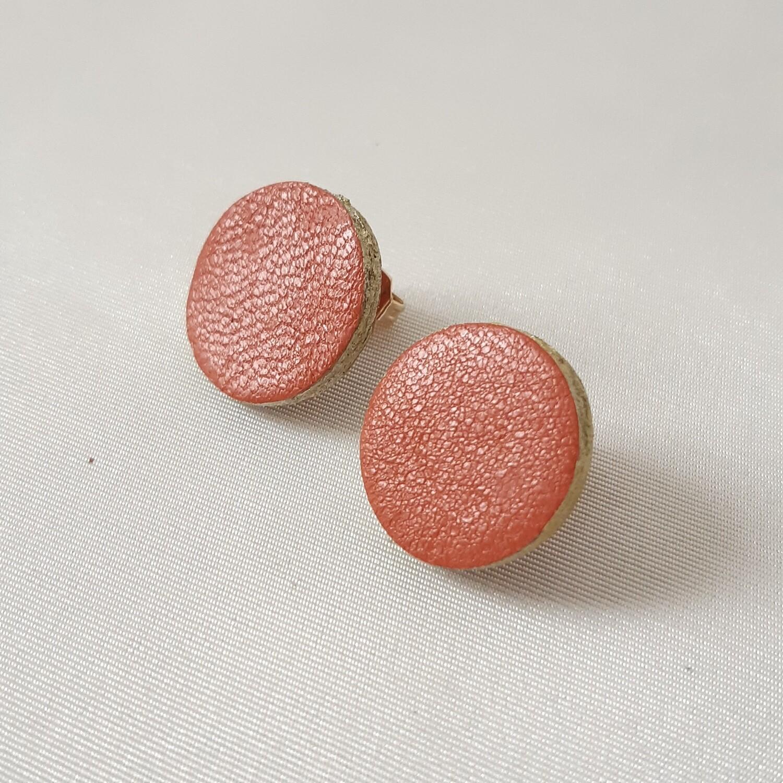 Oorbellen samba leder met een gouden randje -diam: 1,7cm