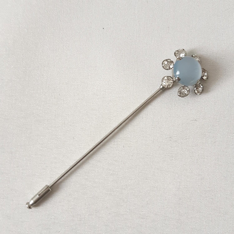 Hatpin - vintage hoedenpin strass en opaline +/- 1950