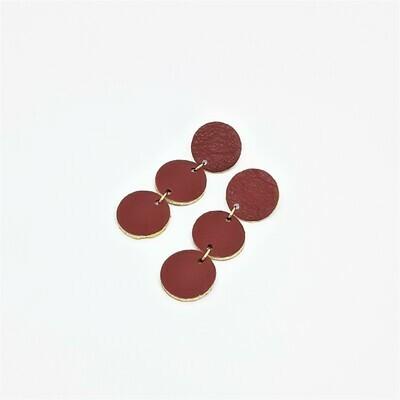 Oorbellen met een gouden randje - henna kleur leder