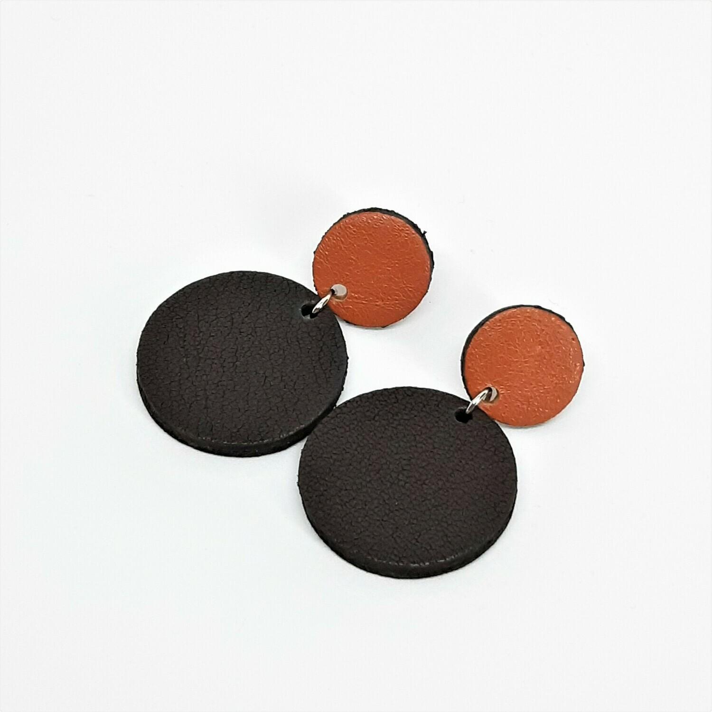 Oorbellen met een zwart randje - samba en zwart bruin