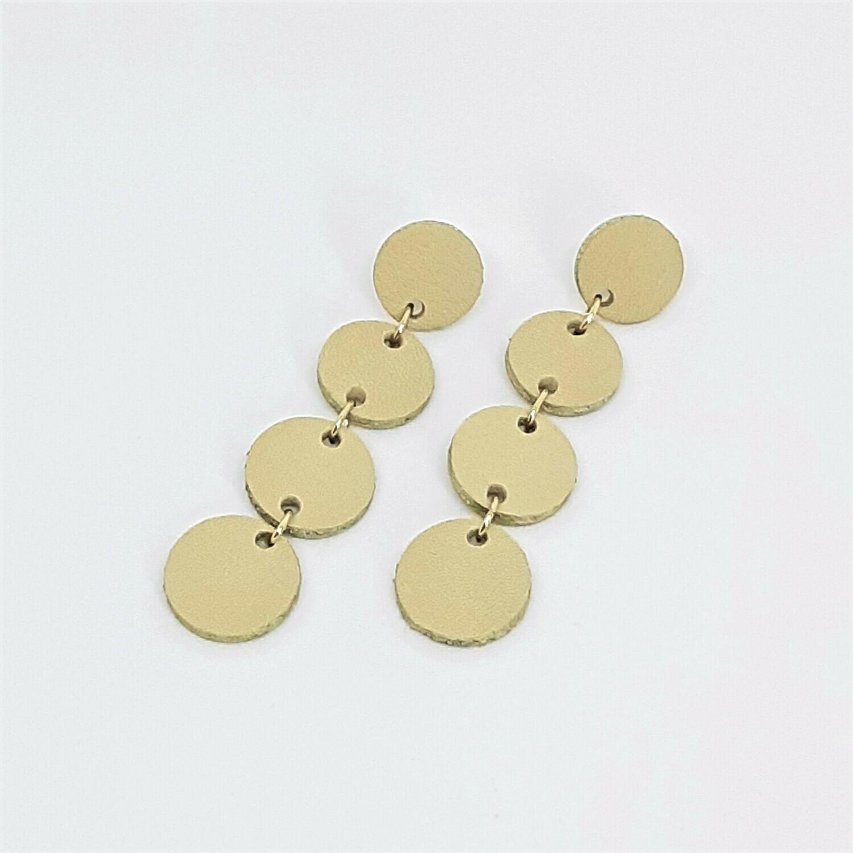 Oorbellen in ecru leder met een gouden randje - 4 bolletjes