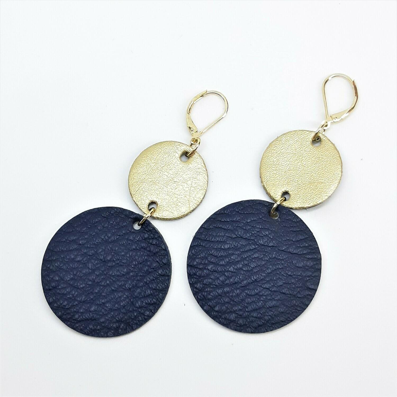 Oorbellen duo color - blauw & goud -  leder
