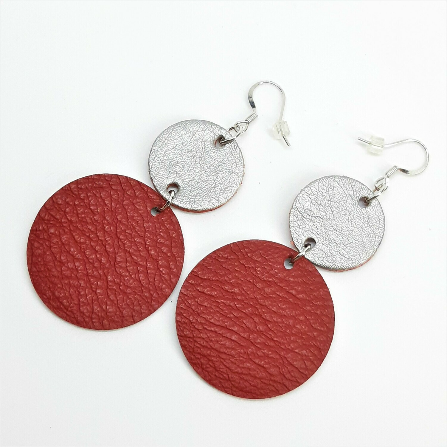 Statement Oorbellen duo color - rood & zilver
