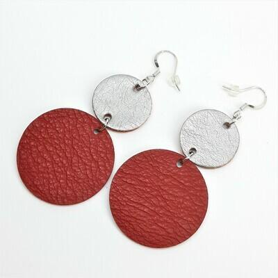 Statement Oorbellen duo color - rood & zilver