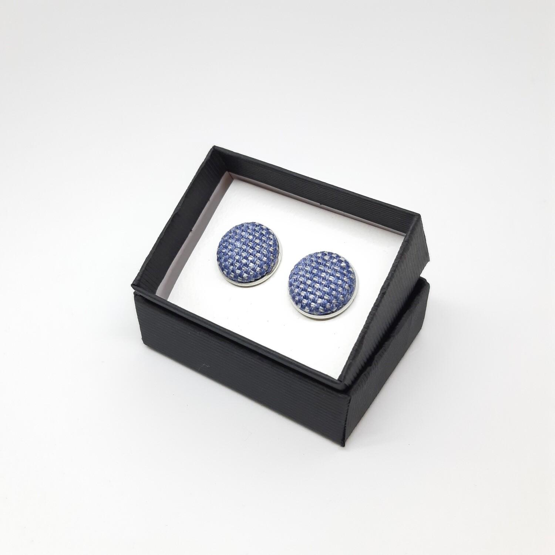 Manchetknopen - stof met glans - hemels blauw