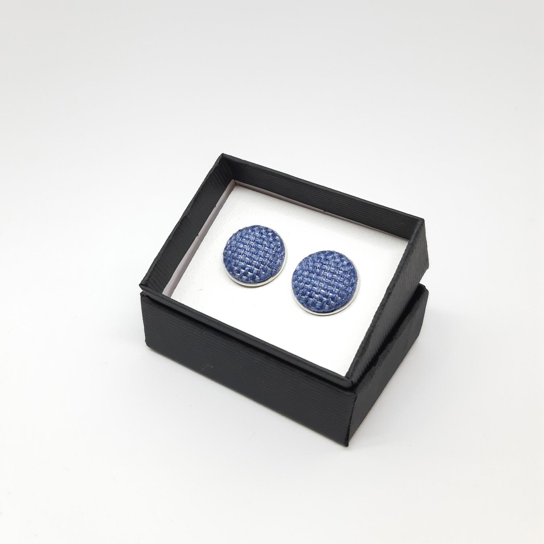 Manchetknopen - stof met glans - hevig blauw