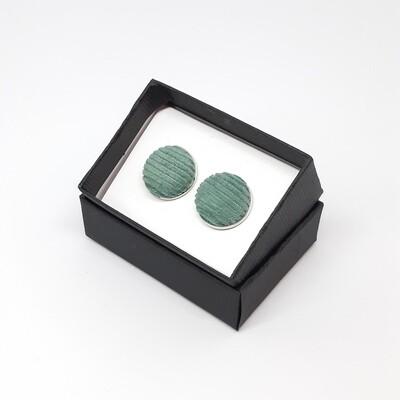 Manchetknopen in fijne ribfluweel stof - oud groen