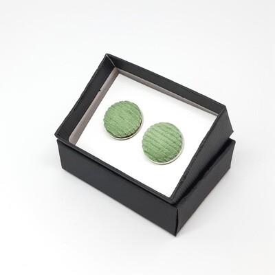 Manchetknopen in fijne ribfluweel stof - pastel groen
