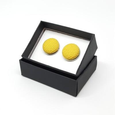 Manchetknopen in stof - geel