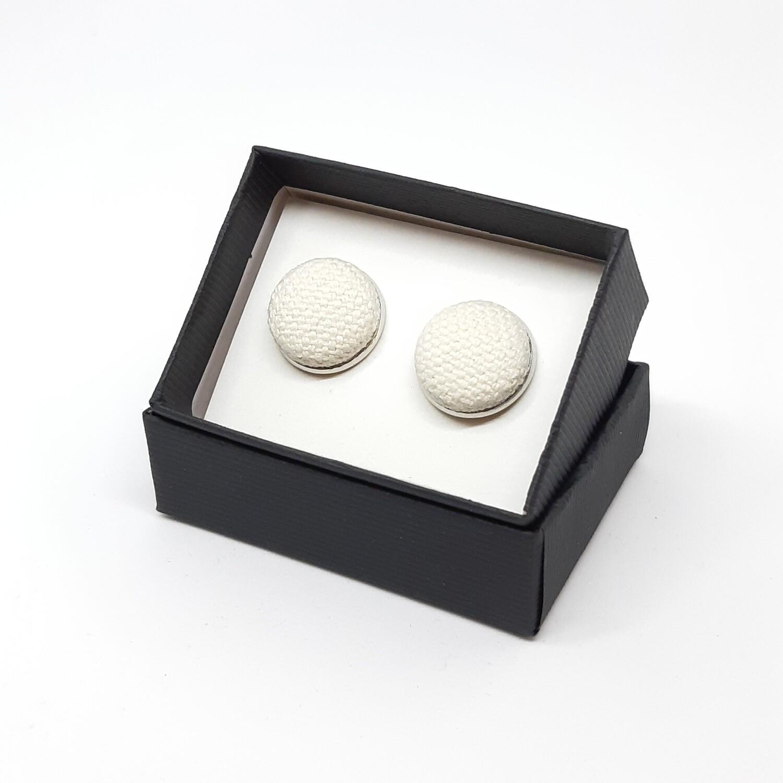 Manchetknopen in stof - wit
