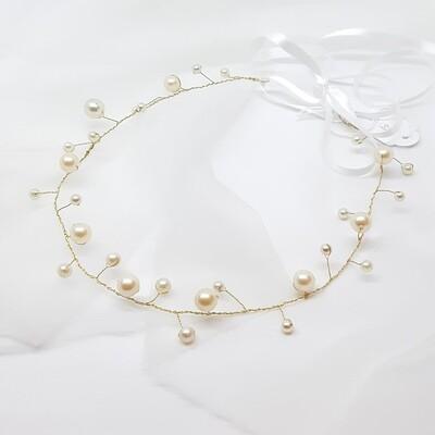 Bruidsaccessoire - Boho bruidskroon met parels en goud draad