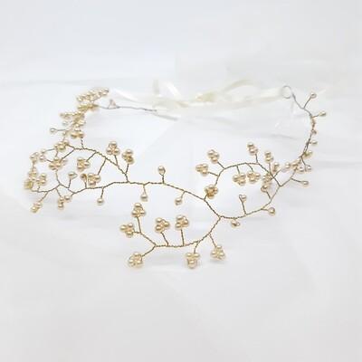 Bruidsaccessoire - kroon met fijne parels en gouddraad