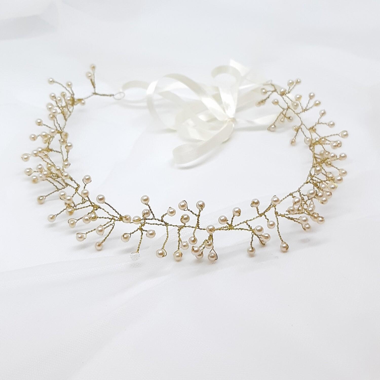 Bruidskroon met kleine parels en gouddraad