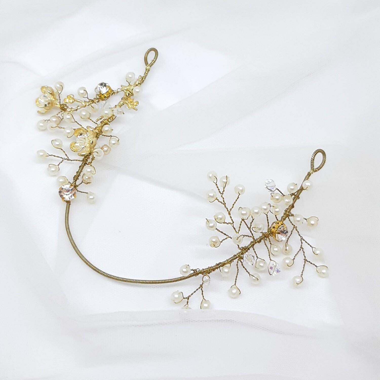 Bruidskroon met parels, strass en goud draad
