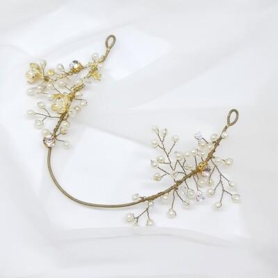 Haarjuweel met parels, strass en goud draad