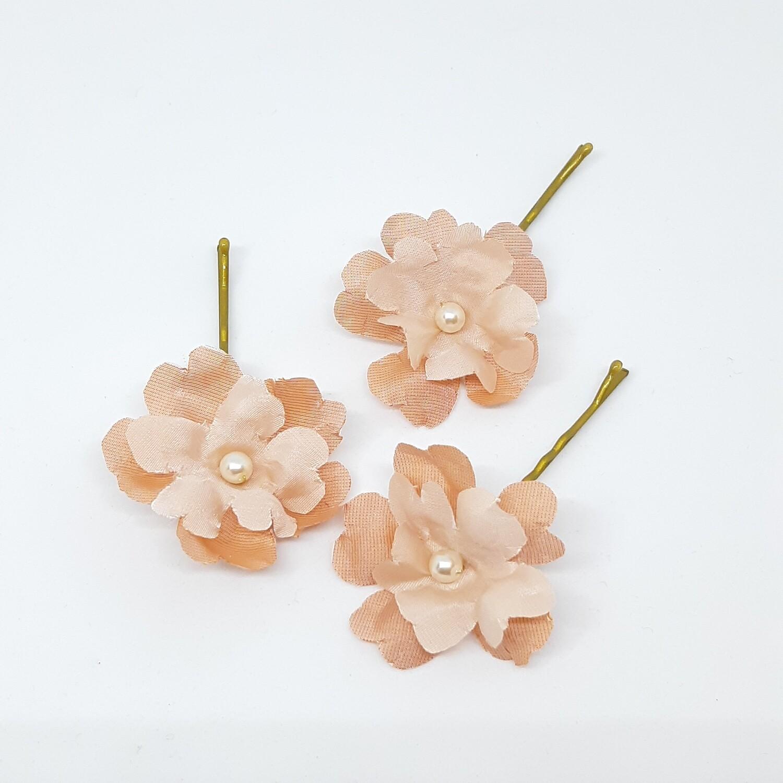 Bobby pins - set van 3 spelden met roze bloemen met parel