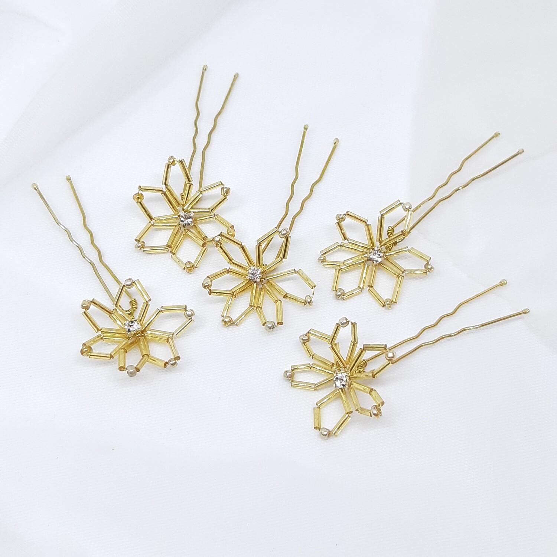 Haarpins - set van 5 spelden gouden staafjes  bloemen en strass