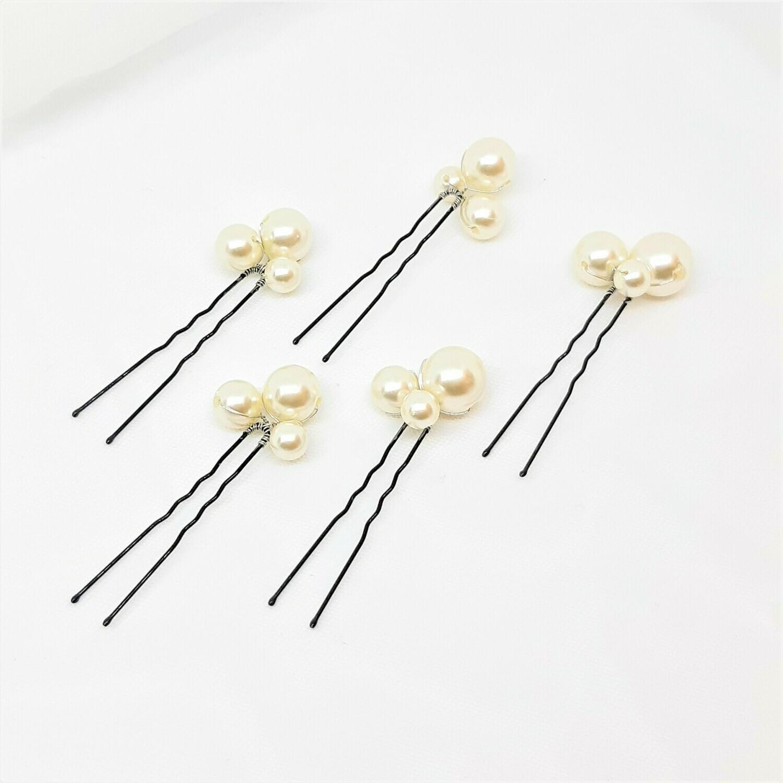 Haarpins - set van 5 spelden met elk 3 parels