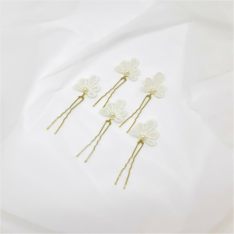 Haarpins - set van 5 spelden kanten schelp en parel