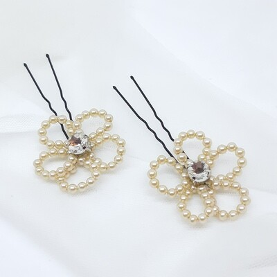 Haarpins - set van 2 pins - bloem in parels en strass