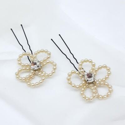 Haarpins - set van 2 pins - bloem in parels en strass