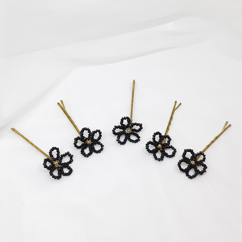 Bobby pins - set van 5 kleine bloemetjes, zwart bruin met gouden hart